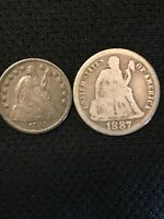 LOT OF 2 1858 SEATED HALF DIME & 1887 SEATED DIME 90  SILVER
