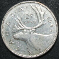 1944 CANADA SILVER TWENTY FIVE CENT COIN
