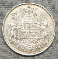 1949 CANADA 50 FIFTY  CENTS SILVER COIN   HOOF IN DATE VARIE