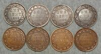 LOT OF 8 CANADA LARGE CENTS    1882 H 1888 1895 ETC.