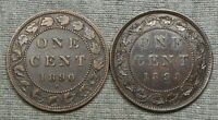 LOT OF 2 CANADA LARGE CENTS   1890 H & 1898 H