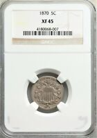 1870 SHIELD NICKEL FS-301 MULE DIE CLASH AND RPD NGC EXTRA FINE 45  BCI0319