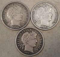 1898,1912,  1914-D BARBER DIMES FULL LIBERTY AS PICTURED