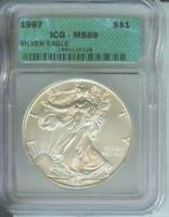 1997 AMERICAN SILVER EAGLE ASE S$1 ICG MINT STATE 69 MINT STATE 69 BEAUTIFUL PREMIUM QUALITY PQ