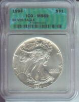 1994 AMERICAN SILVER EAGLE ASE S$1 ICG MINT STATE 69 MINT STATE 69 BEAUTIFUL PREMIUM QUALITY PQ