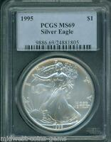 1995 AMERICAN SILVER EAGLE ASE S$1 PCGS MINT STATE 69 PREMIUM QUALITY BEAUTIFUL
