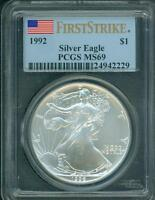 1992 AMERICAN SILVER EAGLE ASE S$1 PCGS MINT STATE 69 NEAR PERFECT FIRST STRIKE FS