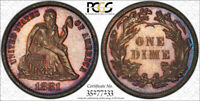 1881 10C SEATED LIBERTY DIME PCGS PR 64 CAM CAMEO PROOF TONED KEY DATE