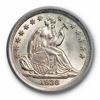1838 10C SEATED LIBERTY DIME LARGE STARS ICG MINT STATE 63 UNCIRCULATED LUSTROUS BEAUTY