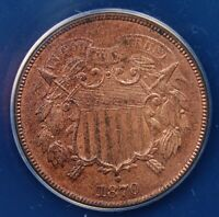 1870 TWO CENT PIECE ANACS MINT STATE 62 RB LOOKS FULLY CHOICE AND VIRTUALLY FULLY RED