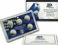 2002 S CLAD STATE QUARTER U.S. PROOF SET.IN BOX W/COA MIGHT