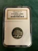 1999 S CLAD 25C CONNECTICUT PF 70 ULTRA CAMEO NGC CERTIFIED