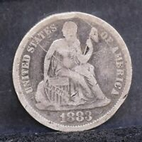 1883 SEATED LIBERTY DIME - FINE DETAILS 23478