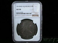 1810MO HJ MEXICO SILVER 8 REALES NGC AU 50