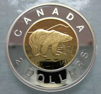 2008 CANADA TOONIE PROOF SILVER WITH GOLD PLATED HEAVY CAMEO