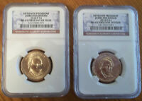 2010 P&D $1 15TH JAMES BUCHANAN NGC MINT STATE 65 FIRST DAY OF ISSUE 2-COINS DOLLAR SET
