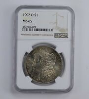 MINT STATE 65 1902-O MORGAN SILVER DOLLAR - RAINBOW TONED - GRADED NGC 0925