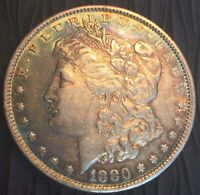 1880 MORGAN SILVER DOLLAR. GORGEOUS TONING COMBINE SHIPPING  BONUS GIFT