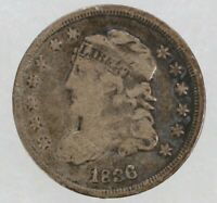 1836 CAPPED BUST HALF DIME H10C SILVER F FINE CIRCULATED 9659