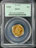 1888 $3 GOLD INDIAN PRINCESS HEAD PCGS MS61 OGH