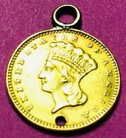 1861 $1 INDIAN PRINCESS HEAD GOLD DOLLAR TYPE 3 NICE COIN OLD COLLECTORS US