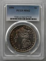 1896 P PCGS MINT STATE 62  VAM 6A NEAR DATE, DBLED 6, CLASHED OBVERSE N   LIGHT TONE