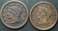 1851 & 1854 LARGE CENT F DETAILS CLEANED XF DETAILS CORROSIO