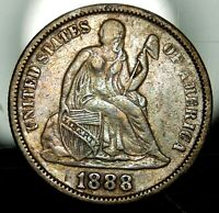 1888 SEATED LIBERTY DIME - EXTRA FINE