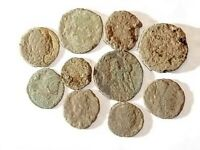 10 ANCIENT ROMAN COINS AE3/4   UNCLEANED AND AS FOUND    UNI