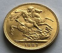 1887 GOLD FULL SOVEREIGN VICTORIA JUBILEE HEAD