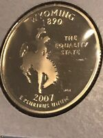 2007 S CLAD PROOF STATE QUARTER WYOMING PR US COIN