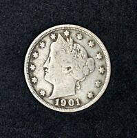 1901 LIBERTY HEAD V NICKELVF FINECOMBINED SHIPPING