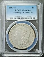 1893 S MORGAN SILVER DOLLAR PCGS VF DETAILS CLEANED   FREE S