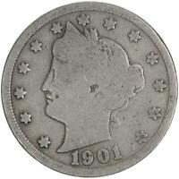 1901 LIBERTY V NICKEL GOOD GD