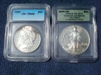 TWO SILVER COINS ICG : 1890 MORGAN  DOLLAR MINT STATE 63   2000 AMERICAN EAGLE LIMITED