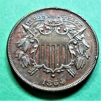 1864 SMALL MOTTO 2 CENT PIECE. MS DETAILS SOME RED.  THIS G