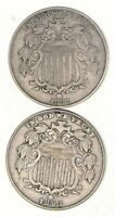 LOT 2 1882 & 1883 SHIELD NICKELS 2728