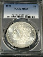1896 P MORGAN SILVER DOLLAR PCGS MINT STATE 65 BLAST WHITE SUPERB FROSTY LUSTER, PQ G497