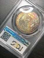 1898-O MORGAN SILVER DOLLAR PCGS MINT STATE 64 RAINBOW TONED REVERSE BETTER DATE WOW