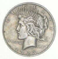 1  VG  1923 AMERICAN PEACE SILVER DOLLAR 90  US COIN EAGLE REVERSE OVER 3/4 OZ