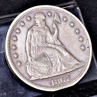 1867 LIBERTY SEATED DOLLAR - EXTRA FINE  DETAILS 24586