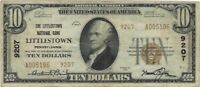 $10 LITTLESTOWN PA 9207 NATIONAL BANK NOTE TYPE 2 SMALL SIZE