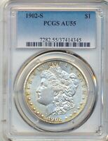 1902 S MORGAN SILVER DOLLAR PCGS AU55  TONING & LUSTER