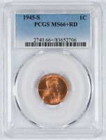 1945-S LINCOLN WHEAT CENT 1C PCGS MINT STATE 66 RD RED PLUS