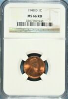 1948-D LINCOLN CENT NGC MINT STATE 66 RED  GA9-36
