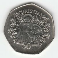 2005 FIFTY PENCE 50P GIBRALTAR CHRISTMAS MADONNA AND CHILD XMASS UNC
