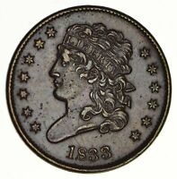 1833 CLASSIC HEAD HALF CENT - CIRCULATED 2899