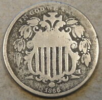 1866 RAYS SHIELD NICKEL AS PICTURED