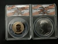 2015 TRUMAN COIN CHRONICLES SET PR/RP70 MS70 FIRST DAY OF ISSUE REVERSE PROOF
