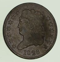 1828 CLASSIC HEAD HALF CENT - CIRCULATED 8695